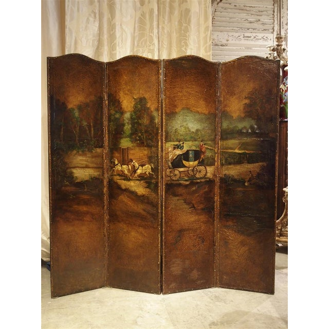 Antique Painted English Four Panel Leather Screen, 19th Century For Sale - Image 13 of 13