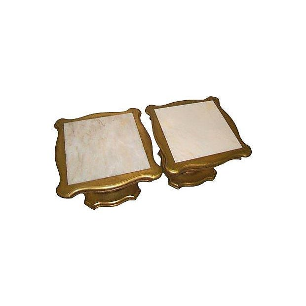 Hollywood Regency Marble Top End Tables - Pair - Image 2 of 3