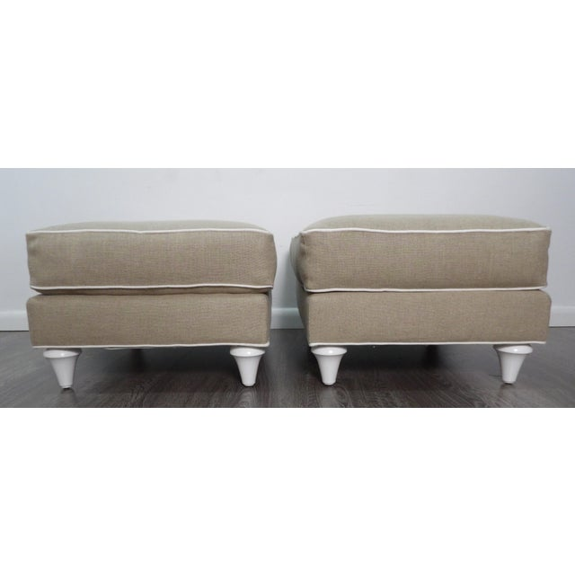 Baker Furniture Ottomans in New Upholstery- a Pair For Sale - Image 9 of 9