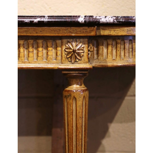 Midcentury French Louis XVI Carved and Painted Console Table With Marble Top For Sale In Dallas - Image 6 of 12