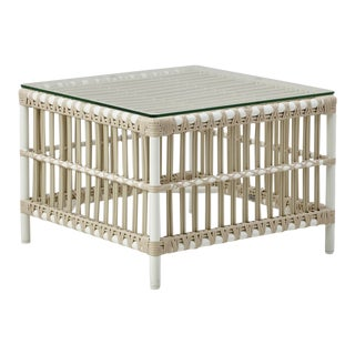 Caroline Exterior Side Table - Glass Top - Dove White For Sale