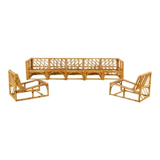 Exceptional Restored Vintage Rattan and Mahogany Nine-Piece Seating Set For Sale