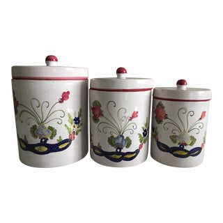 """Italian Faience """"Blue Carnation"""" Canisters - Set of 3 For Sale"""