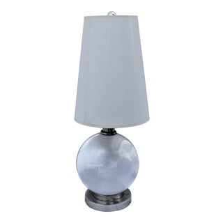 Art Deco Bronze Base in Silver Glass Ball Lamp in the Style of Adnet For Sale