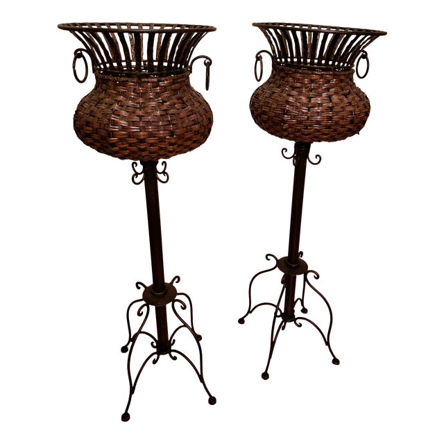 1980s Vintage Iron, Metal and Wicker Plant Stands - A Pair For Sale