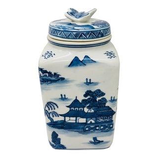 Vtg Asian Blue & White Porcelain Box For Sale