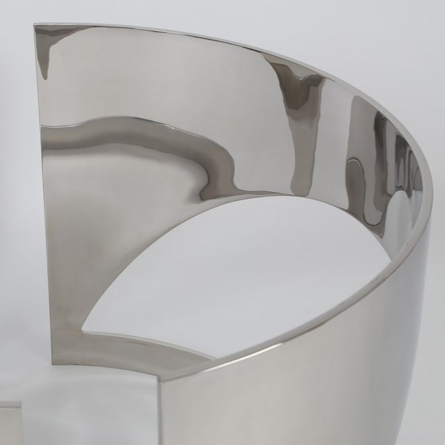 Metal 1960'S VINTAGE PAUL M. JONES POLISHED STEEL DEMILUNE TABLE BASES- A PAIR For Sale - Image 7 of 10