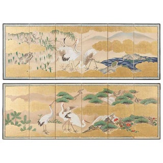 Pair of Japanese Six Panel Meiji Crane Landscape Screens For Sale