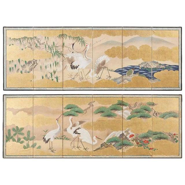 Pair of Japanese Six Panel Meiji Crane Landscape Screens For Sale