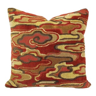 "Brunschwig & Fils Alto Velvet in Red and Camel Pillow Cover - 20"" X 20"" Red and Cream Linen Velvet Abstract Swirl Design Cushion Case For Sale"