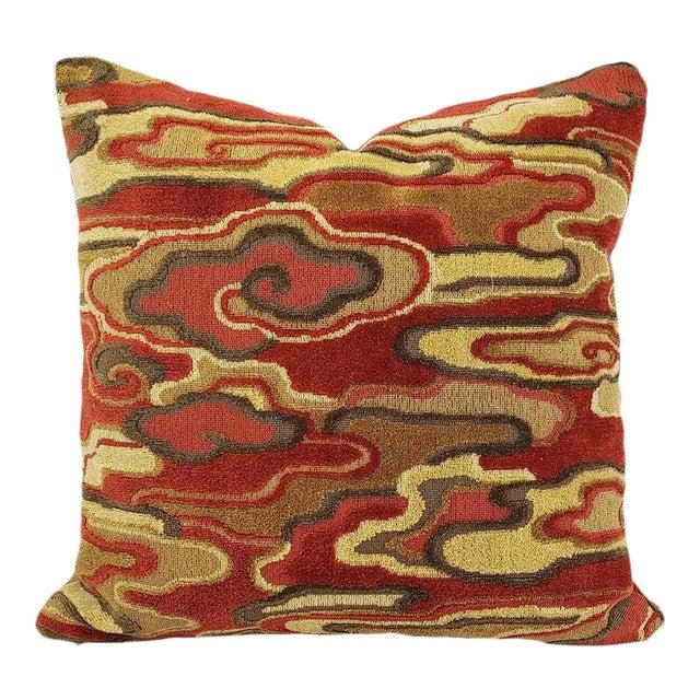 "Brunschwig & Fils Alto Velvet in Red and Camel Pillow Cover - 20"" X 20"" Red and Cream Linen Velvet Abstract Swirl Design Cushion Case For Sale"