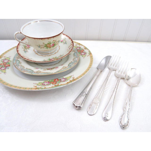 Vintage Mismatched Fine China & Silverware - Set of 32 - Image 9 of 11