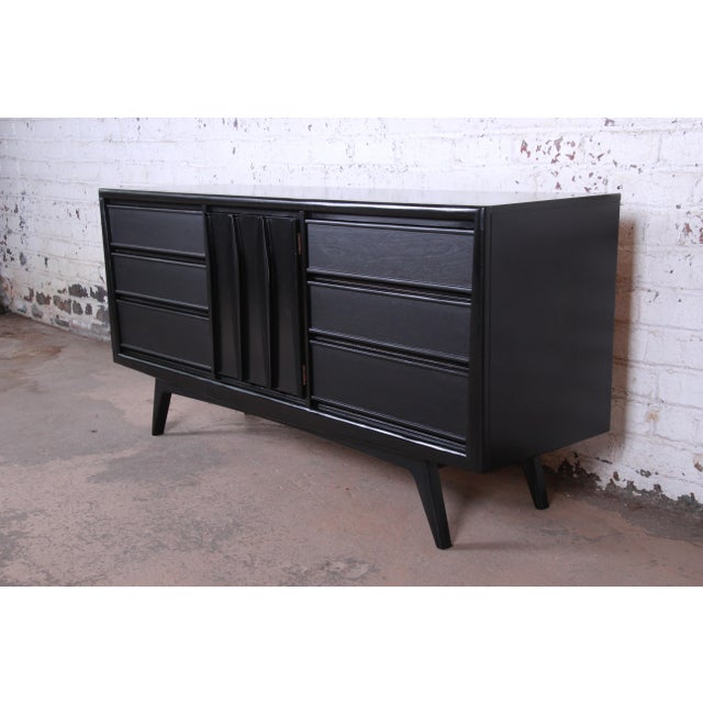 Mid-Century Modern Ebonized Walnut Triple Dresser or Credenza by United For Sale - Image 11 of 11