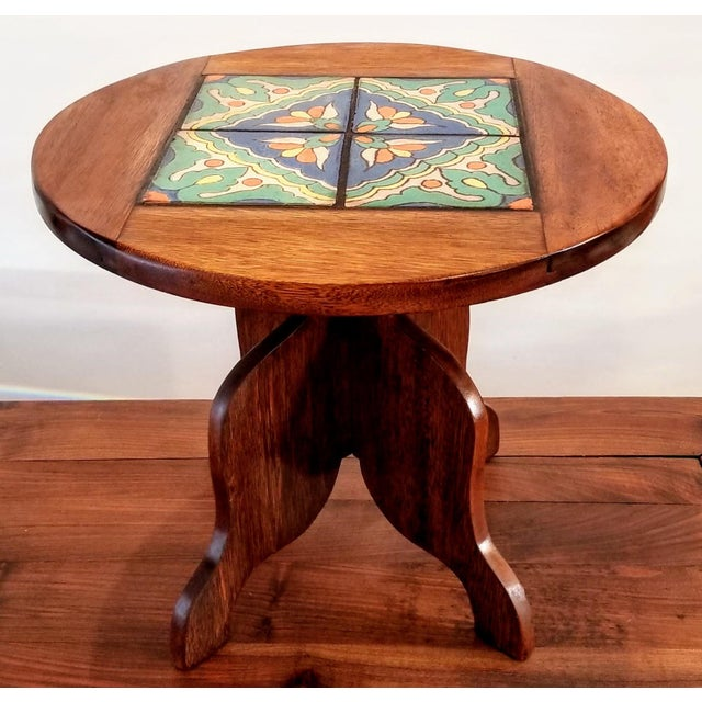 1927-1934 Spanish Cedar Side Table With Hispano-Moresque Tile Top For Sale - Image 9 of 9