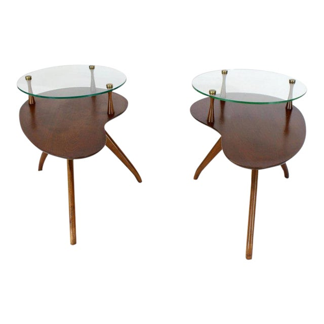 Pair of Kidney Organic Shape Two-Tier Tri-Legged Side Tables For Sale