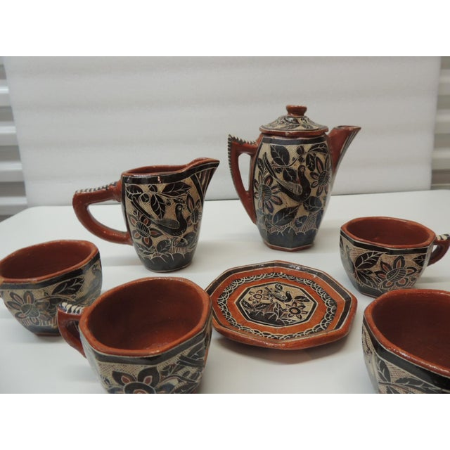 Vintage Brown and Orange Talavera Mexican Terracotta Artisanal Coffee Set For Sale In Miami - Image 6 of 7