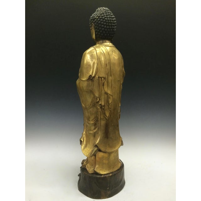 Chinese Art Gold Gilt Bronze Standing Kwan Yin Sculpture - Image 6 of 10