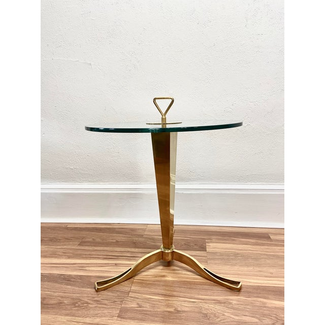 Vintage 1950s Italian Brass Faceted Drinks Table For Sale In Philadelphia - Image 6 of 6
