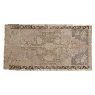 """Vintage Distressed Oushak Rug Mat Runner - 1'9"""" X 3'5"""" For Sale"""