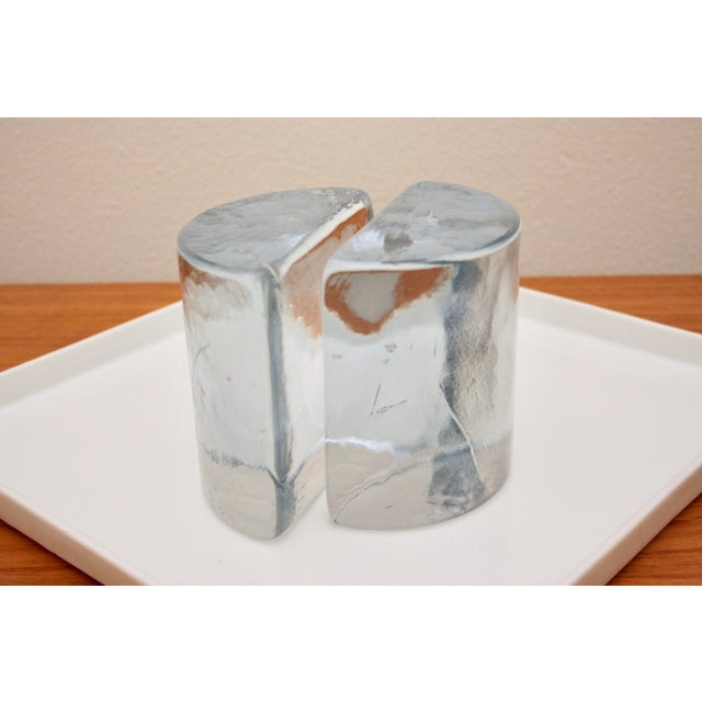 Transparent Blenko Clear Half Moon Bookends, a Pair For Sale - Image 8 of 13