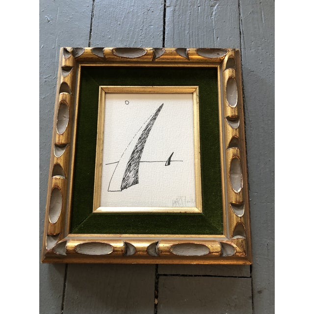Original Ink Drawing on paper Signed bottom right Dated 69 4 x 5 Overall size with vintage frame is 8 x 9