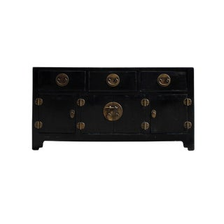Chinese Oriental Zen Black Console Sideboard Tv Cabinet