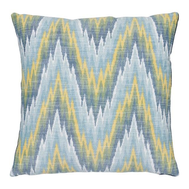 "Contemporary Schumacher Ibiza Flamestitch Pool Cotton Linen Pillow - 20ʺW × 20""H For Sale"