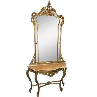 French Console With Mirror For Sale