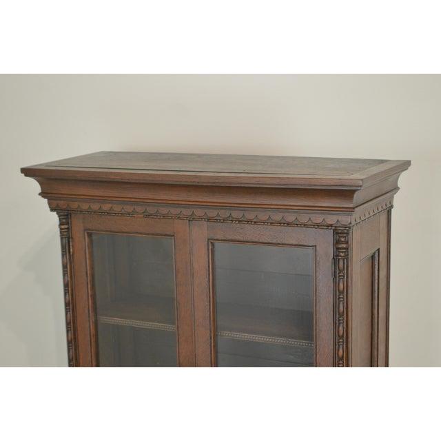 Late 19th Century Antique Miniature Victorian Oak 2 Door Bookcase Cabinet For Sale - Image 5 of 13