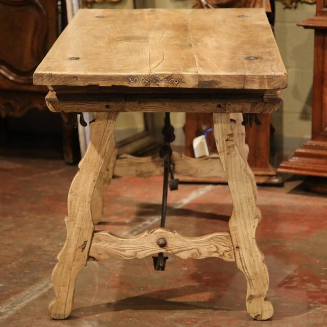 Brown 19th Century Spanish Bleached Chestnut Table For Sale - Image 8 of 10
