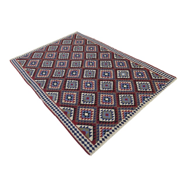 Turkish Kilim Hand-Woven Rug - 4′9″ × 8′2″ - Image 1 of 9