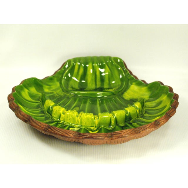 California Pottery Large Green Clamshell Ashtray - Image 5 of 8