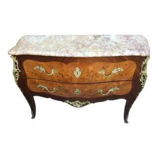 Antique French Marble Top Commode with Marquetry Inlay For Sale