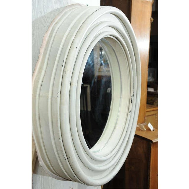 Country Round Painted Zinc Architectural Element With Mirror For Sale - Image 3 of 8