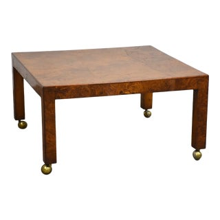 Milo Baughman Style Square Burl Coffee Table For Sale