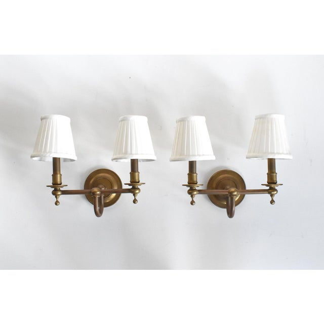 Mid-Century Modern Vintage Brass Double Wall Sconce Lamps With Shades - a Pair For Sale - Image 3 of 10
