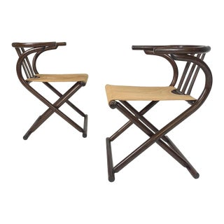 Pair of Folding Mid-Century Bentwood and Stitched Canvas Chairs by August Thonet, 1960s For Sale