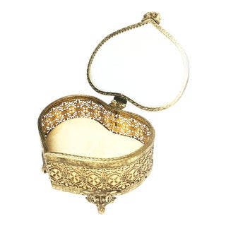 Vintage Mid-Century Heart Shaped Filigree Footed Brass Jewelry Box