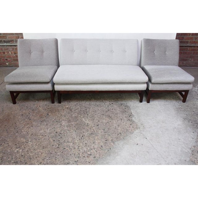 Danish Modern Chenille & Rosewood Settee For Sale - Image 4 of 11
