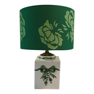 1970s Contemporary Hand Painted Green & White Ribbon Table Lamp For Sale