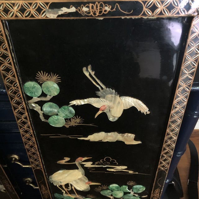 Asian Asian Black Lacquer Wall Panels With Mother of Pearl - a Pair For Sale - Image 3 of 6
