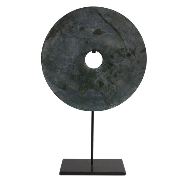 Chinese Natural Green Stone Feng Shui Round Good Luck Display For Sale - Image 4 of 7
