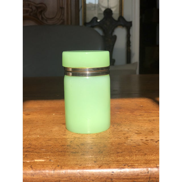 Metal Green Cylindrical Opaline Glass Vase For Sale - Image 7 of 7