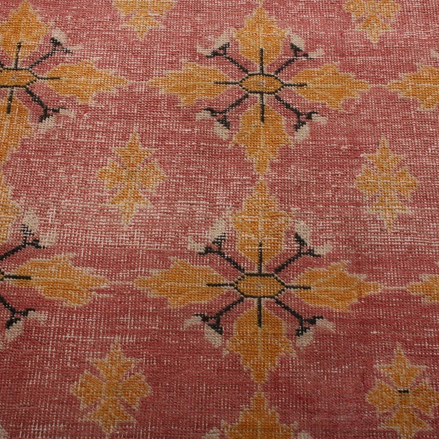 Textile Vintage Mid-Century Pink and Gold Wool Rug-4′3″ × 7′7″ For Sale - Image 7 of 9
