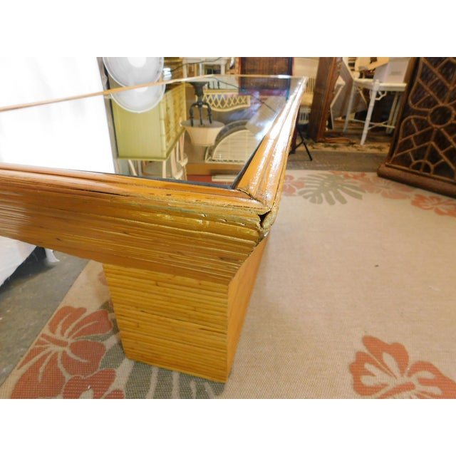 Vintage Mid-Century Split Reed Mirror Top Console Table - Image 6 of 10