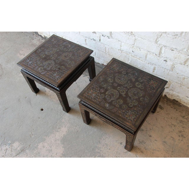 1980s John Widdicomb Asian Faux Tortoise Shell End Tables - a Pair For Sale - Image 5 of 11