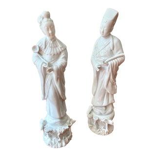 Blanc De Chine Temple Figures -- a Pair For Sale
