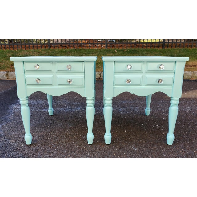 1950s Boho Chic Mersman Solid Wood Bedside Tables - a Pair For Sale - Image 10 of 12