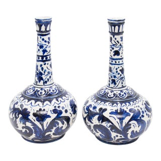 Large European Blue & White Long Neck Bottle Vases - a Pair For Sale