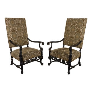 Maitland Smith William & Mary Ebony W Gold Gilt Accents Fireside Arm Chairs - a Pair For Sale